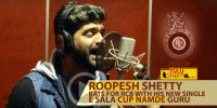 "Actor Roopesh Shetty bats for RCB, Sings for ""Ee Sala Cup Namde""."