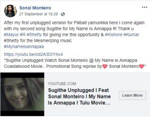 Sonal Monteiro unplugged: 'Sugithe' from the film 'My Name is Annappa'.